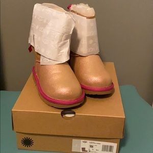 Ugg Girls Bailey Bow Shimmer Tan & Pink